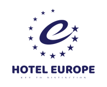 Hotel Europe Logo with stars logo and text